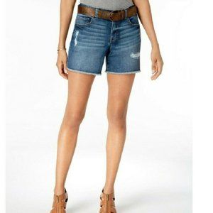 Style & Co. Plus Size Belted Distressed Jean Short